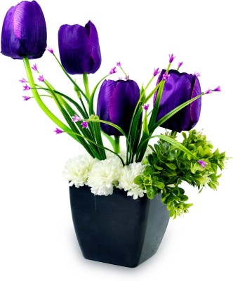 Magical Petals Purple Tulips Artificial Flower  with Pot