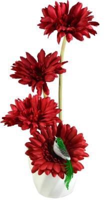 sadhna Creations Red Gerbera Artificial Flower  with Pot