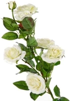 Flowers Forever 7 Heads Velvet Wild White Rose Artificial Flower(Pack of 1)