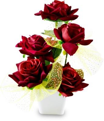Magical Petals Multicolor Rose Artificial Flower  with Pot