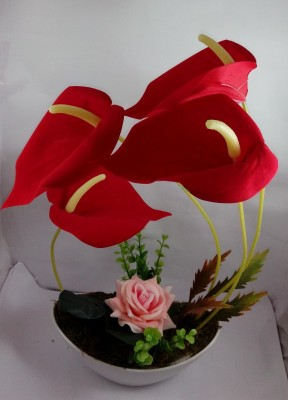 Aryash Highbrow Creation Red Assorted Artificial Flower  with Pot