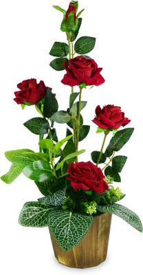 Magical Petals Red Rose Artificial Flower  with Pot