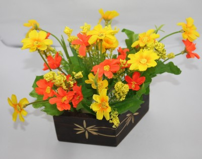 Aryash Highbrow Creation Yellow, Orange Assorted Artificial Flower  with Pot