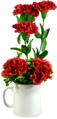 Sadhna Creations Red, White Carnations Artificial Flower  with Pot