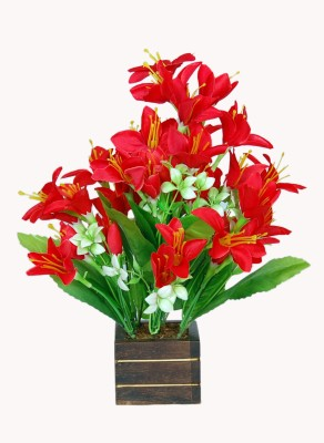 Loxia SMFA-2005B Red Assorted Artificial Flower  with Pot