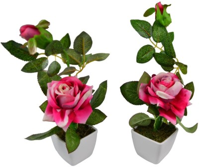 The Fancy Mart Classic White Rose Artificial Flower with Pot