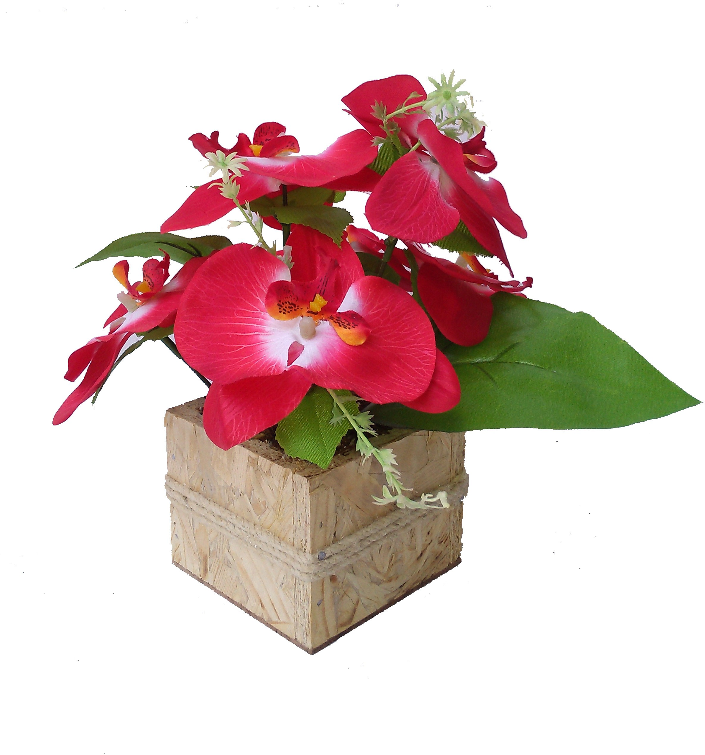 Floral Expressions Red Orchids Artificial Flower  with Pot