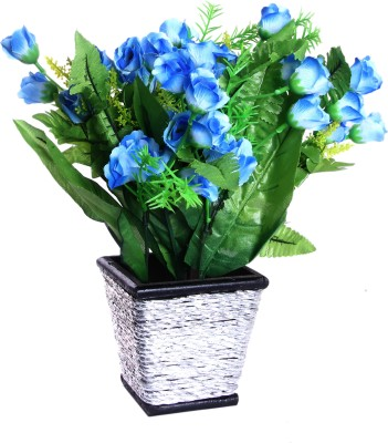 Artcraftindia Blue, White Rose Artificial Flower  with Pot