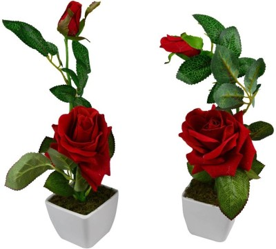 V Creations Red Rose Artificial Flower  with Pot