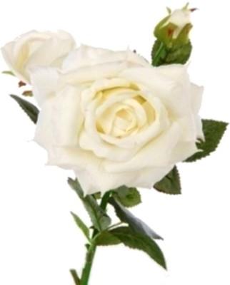 Flowers Forever 3 Heads Velvet White Rose Artificial Flower