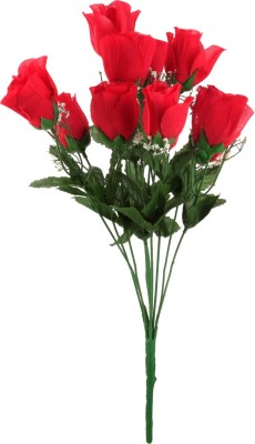Kusal Rose Bush 11 Head Red Assorted Artificial Flower
