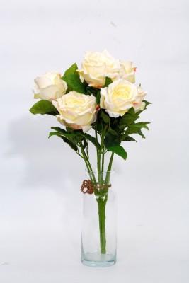 Deziworkz White, Yellow Rose Artificial Flower