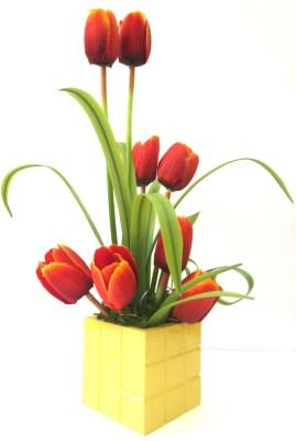Magical Petals Orange Tulips Artificial Flower  with Pot