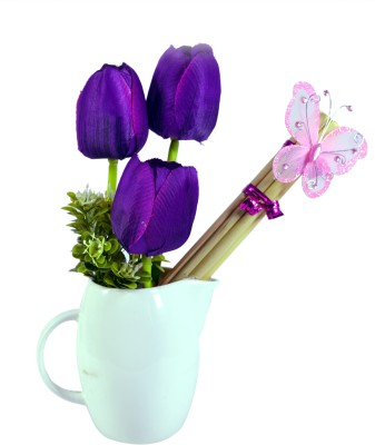 Sadhna Creations Purple Tulips Artificial Flower  with Pot