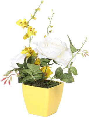 Evergreen White Assorted Artificial Flower  with Pot