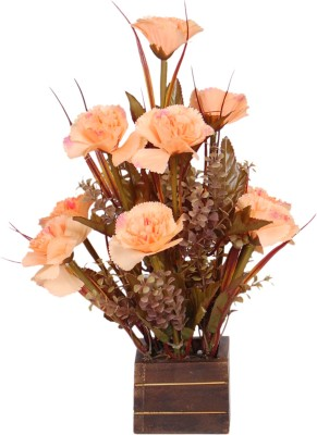 Loxia 4015A Orange Carnations Artificial Flower  with Pot