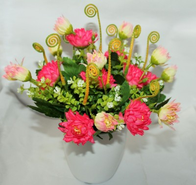 Aryash Highbrow Creation Pink Assorted Artificial Flower  with Pot