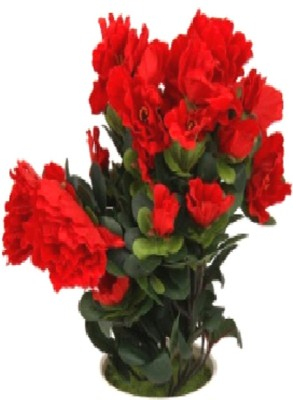 Flowers Forever Azalea Red Assorted Artificial Flower  with Pot(Pack of 1)