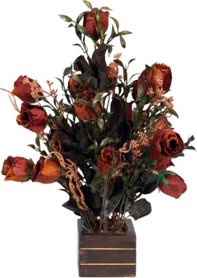 Loxia SMFA-3006A Brown Rose Artificial Flower  with Pot