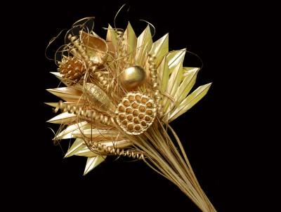 Exotic Creations Golden Rich Dried Bouquet Gold Assorted Artificial Flower
