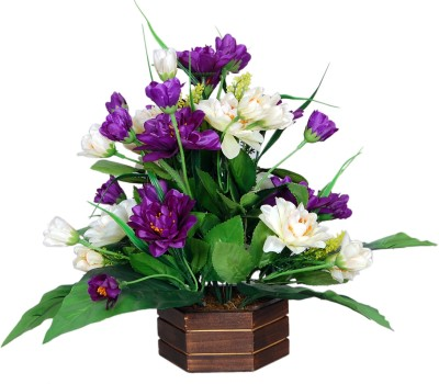 Loxia SMFA-2002C Purple, White Assorted Artificial Flower  with Pot