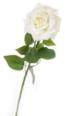 Flowers Forever Velvet Big White Rose Artificial Flower(Pack of 1)