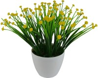 The Fancy Mart FP-0322-954 Yellow Wild Flower Artificial Flower  with Pot(8 inch, Pack of 1)
