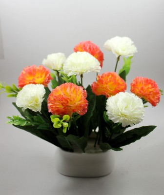 Aryash Highbrow Creation Orange, White Carnations Artificial Flower  with Pot