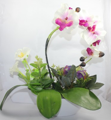 Aryash Highbrow Creation White, Purple Orchids, Rose Artificial Flower  with Pot