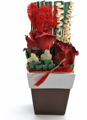 DECO aro Red Rose Artificial Flower  wit...