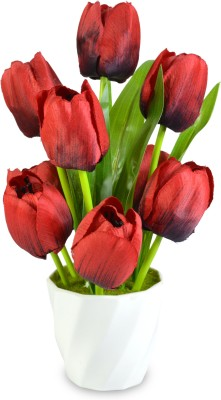 Magical Petals Red Tulips Artificial Flower  with Pot