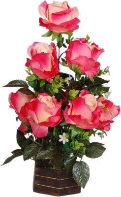 Loxia 4010A Pink Rose Artificial Flower  with Pot