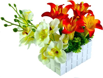 Sadhna Creations White, Orange Lily Artificial Flower  with Pot