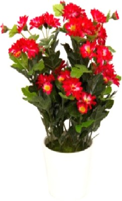 Flowers Forever 15 Heads Mini Mum Red Assorted Artificial Flower  with Pot