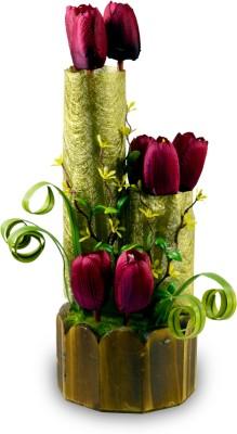 Magical Petals Multicolor Tulips Artificial Flower  with Pot