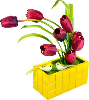 Sadhna Creations Red Tulips Artificial Flower  with Pot