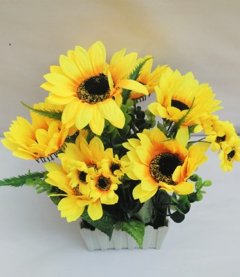 Aaryash Multicolor Sunflower Artificial Flower with Pot(28 inch, Pack of 1)