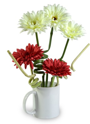 Sadhna Creations Red, White Gerbera Artificial Flower  with Pot