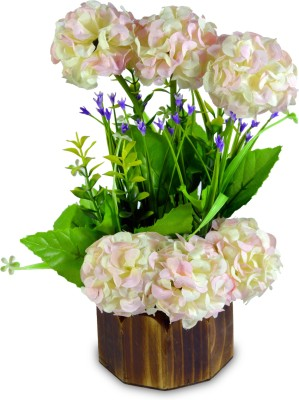 Magical Petals White Assorted Artificial Flower  with Pot