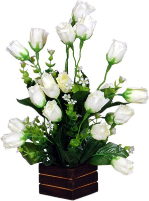 Loxia 4013C White Rose Artificial Flower  with Pot