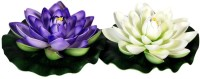 Orchard White, Purple Assorted Artificial Flower(2.3 inch, Pack of 2)
