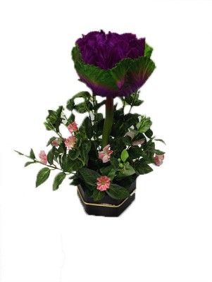 Evergreen Purple Assorted Artificial Flower  with Pot