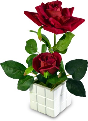 Sadhna Creations Multicolor Rose Artificial Flower  with Pot