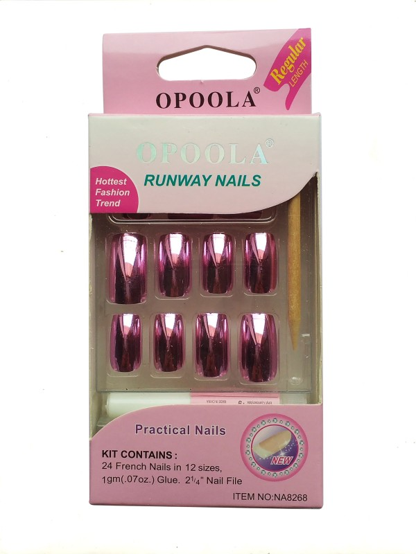 Buy Opoola GROOM FRENCH GLUE ON NAILS 24PCS METAL NAILS SILVER(Pack ...