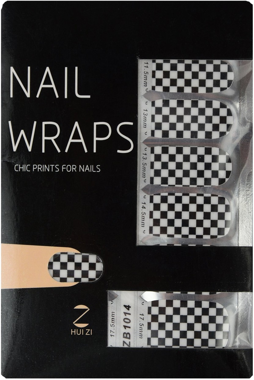 Ruby Premium Quality Full Cover Nail Art Stickers Black(Pack of 14)