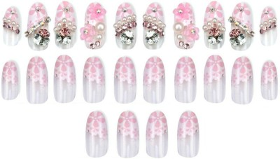 Shrih Decorative Press-On Artificial Nails Pink(Pack of 24)