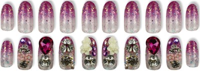 Space Press-On Artificial Nails ( Short & Medium Lengths) Pink