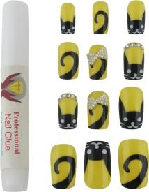Seven Seas Artificial Nails Yellow, Black