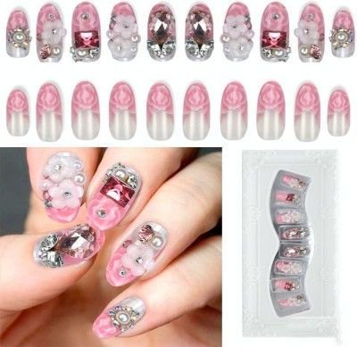 Shrih Decorative Artificial Nails Pink/White(Pack of 24)