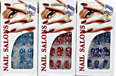 Imported Designer Nails Blue, Red, Navy Blue